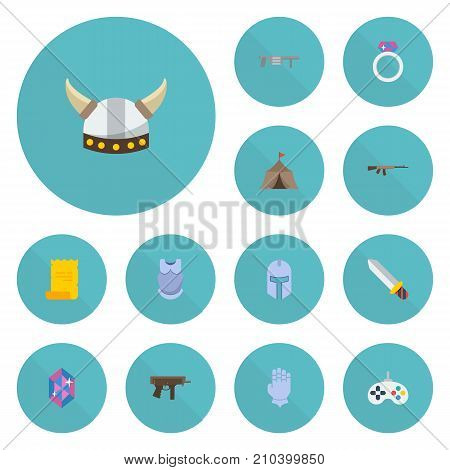 Set Of Game Flat Icons Symbols Also Includes Rifle, Handgun, Kalashnikov Objects.  Flat Icons Game, Handgun, Tent Vector Elements.