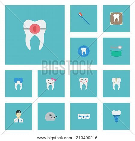 Flat Icons Enamel, Tooth Seal, Implantation And Other Vector Elements