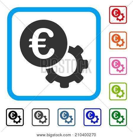 Euro Configure icon. Flat gray iconic symbol in a light blue rounded square. Black, gray, green, blue, red, orange color additional versions of Euro Configure vector. Designed for web and software UI.