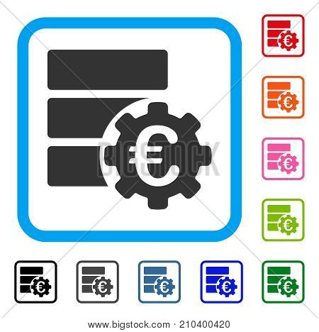 Euro Financial Database Options icon. Flat gray iconic symbol in a light blue rounded frame. Black, gray, green, blue, red, orange color additional versions of Euro Financial Database Options vector.