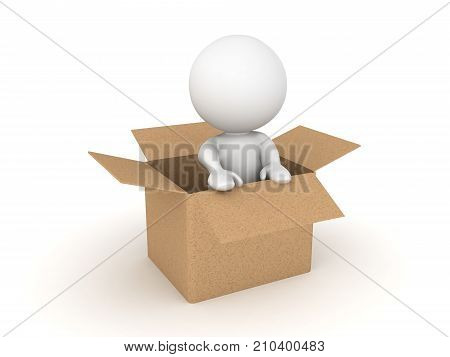 3D Character sitting inside of a cardboard box. Isolated on white.
