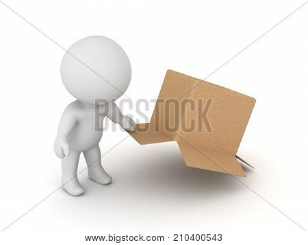 3D Character searching underneath cardboard box. Isolated on white.