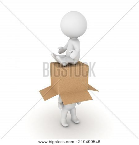 3D Character sitting on another one with a cardboard box. Isolated on white.