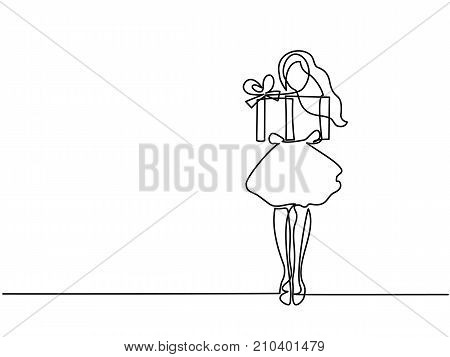 Continuous line drawing. Girl with gift in big box . Vector illustration