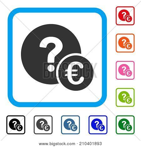 Euro Balance Query icon. Flat gray iconic symbol inside a light blue rounded rectangular frame. Black, gray, green, blue, red, orange color variants of Euro Balance Query vector.