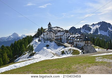 Lussari, Italy - September 23rd 2017. The small village of Lussari on Monte Lussari Friuli Venezia Giulia north east Italy. The village is within a ski resort area but at this time of year it is still out of season