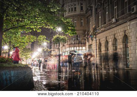 Belgrade Serbia - September 25: Rainy Inght At Knez Mihailova Street On September 25 2015 In Belgrad
