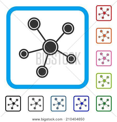 Network Links icon. Flat grey pictogram symbol in a light blue rounded rectangle. Black, gray, green, blue, red, orange color additional versions of Network Links vector.
