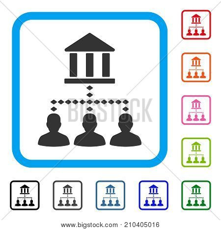 Bank Building Client Links icon. Flat grey pictogram symbol inside a light blue rounded square. Black, gray, green, blue, red, orange color additional versions of Bank Building Client Links vector.