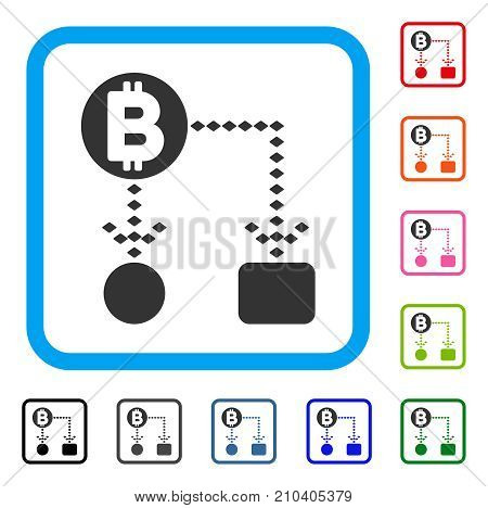 Bitcoin Cashflow Scheme icon. Flat grey iconic symbol in a light blue rounded squared frame. Black, gray, green, blue, red, orange color variants of Bitcoin Cashflow Scheme vector.