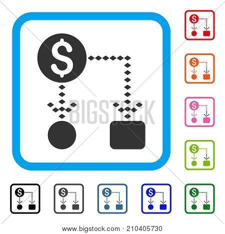 Cashflow Scheme icon. Flat grey iconic symbol inside a light blue rounded squared frame. Black, gray, green, blue, red, orange color variants of Cashflow Scheme vector.