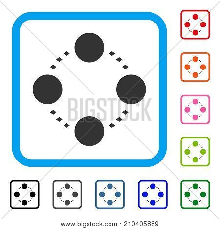 Circular Relations icon. Flat gray iconic symbol in a light blue rounded rectangular frame. Black, gray, green, blue, red, orange color versions of Circular Relations vector.