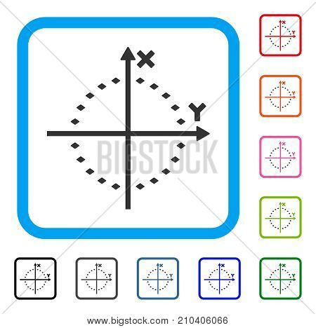 Dotted Circle Plot icon. Flat grey pictogram symbol inside a light blue rounded rectangular frame. Black, gray, green, blue, red, orange color variants of Dotted Circle Plot vector.