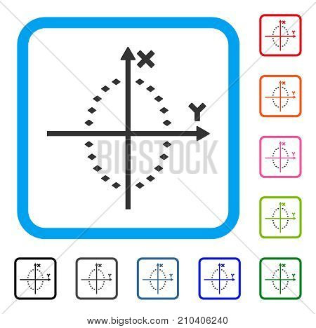 Dotted Ellipse Plot icon. Flat gray iconic symbol inside a light blue rounded squared frame. Black, gray, green, blue, red, orange color variants of Dotted Ellipse Plot vector.