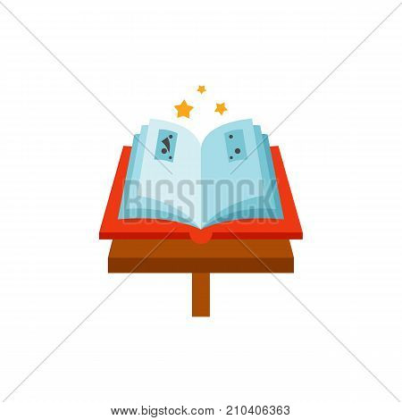 Open book on stand and three stars. Attribute, magic, bewitchment. Halloween concept. Can be used for topics like playing, party, magic spells.