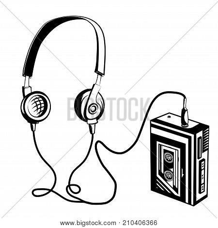 Retro cassette player. Vector illustration for your design