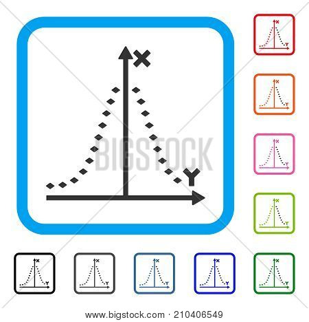 Dotted Gauss Plot icon. Flat grey pictogram symbol inside a light blue rounded rectangle. Black, gray, green, blue, red, orange color versions of Dotted Gauss Plot vector.