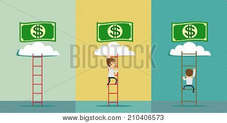 a man climbs to the money. ladder to a money cloud. Stock flat vector illustration.