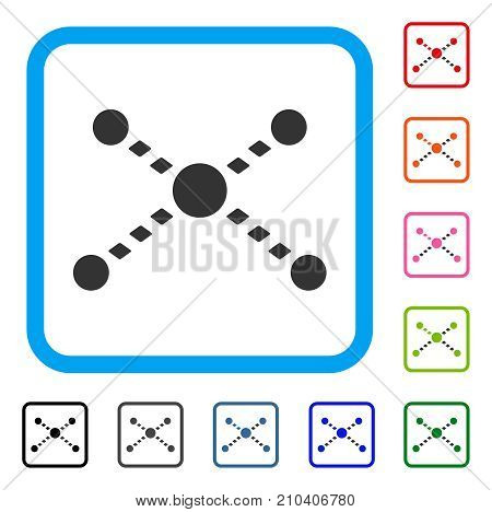 Dotted Links icon. Flat gray iconic symbol in a light blue rounded rectangle. Black, gray, green, blue, red, orange color additional versions of Dotted Links vector.