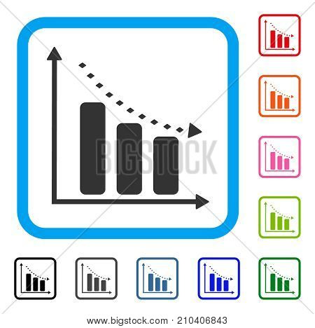 Dotted Negative Trend icon. Flat gray pictogram symbol inside a light blue rounded frame. Black, gray, green, blue, red, orange color variants of Dotted Negative Trend vector.