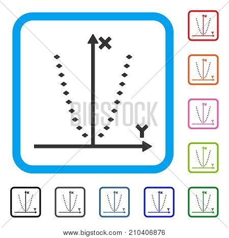 Dotted Parabola Plot icon. Flat gray iconic symbol inside a light blue rounded rectangular frame. Black, gray, green, blue, red, orange color variants of Dotted Parabola Plot vector.