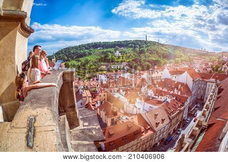 Prague Czech Republic - May 25 2017: Family Of Tourists Overlooking Prague.