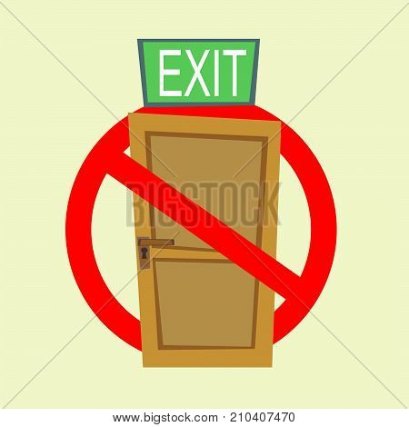 No Exit Sign. Stock flat vector illustration.