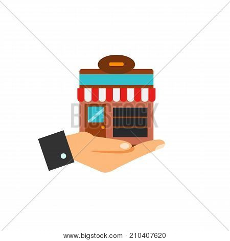 Online store on human hand. Online shopping, order, delivery. E-commerce concept. Can be used for topics like business, retail, electronic payment.