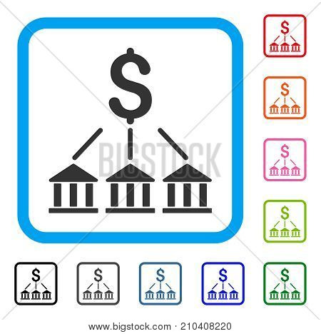 Bank Association icon. Flat grey iconic symbol in a light blue rounded frame. Black, gray, green, blue, red, orange color variants of Bank Association vector.