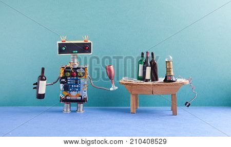 Funny robot gets drunk. Wine party celebration event concept. Creative design cyborg with wine glass and bottle. Wooden table, spirits, green wall blue floor interior