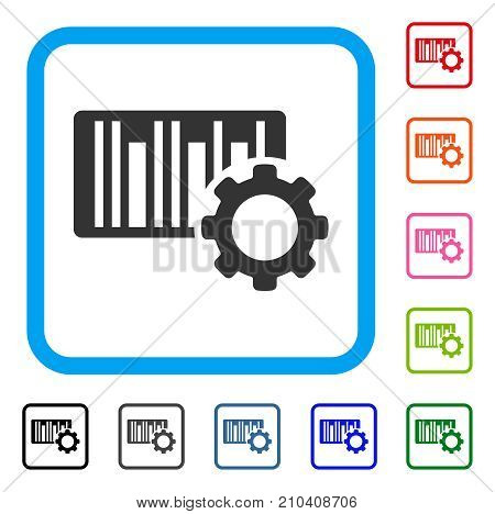 Bar Code Settings icon. Flat gray iconic symbol inside a light blue rounded rectangular frame. Black, gray, green, blue, red, orange color versions of Bar Code Settings vector.