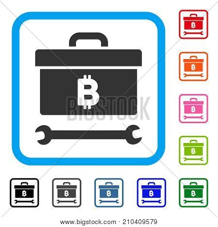 Bitcoin Toolbox icon. Flat gray iconic symbol in a light blue rounded frame. Black, gray, green, blue, red, orange color versions of Bitcoin Toolbox vector.
