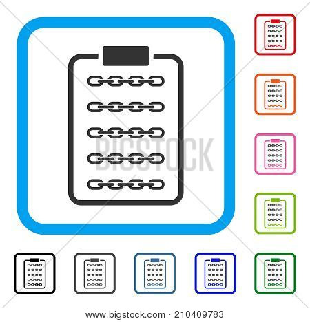 Blockchain List Page icon. Flat grey iconic symbol in a light blue rounded rectangle. Black, gray, green, blue, red, orange color versions of Blockchain List Page vector.