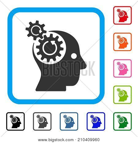 Brain Gears Rotation icon. Flat grey pictogram symbol inside a light blue rounded rectangular frame. Black, gray, green, blue, red, orange color additional versions of Brain Gears Rotation vector.
