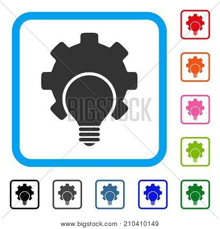 Bulb Configuration Gear icon. Flat grey pictogram symbol inside a light blue rounded rectangle. Black, gray, green, blue, red, orange color variants of Bulb Configuration Gear vector.