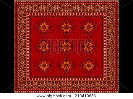 Vintage oriental rug with original pattern in red shades with orange details