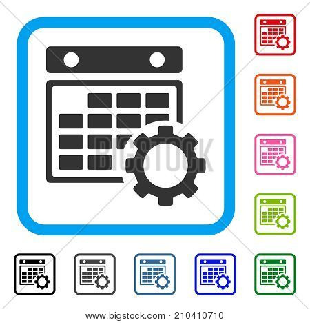 Calendar Configuration icon. Flat grey iconic symbol inside a light blue rounded squared frame. Black, gray, green, blue, red, orange color versions of Calendar Configuration vector.