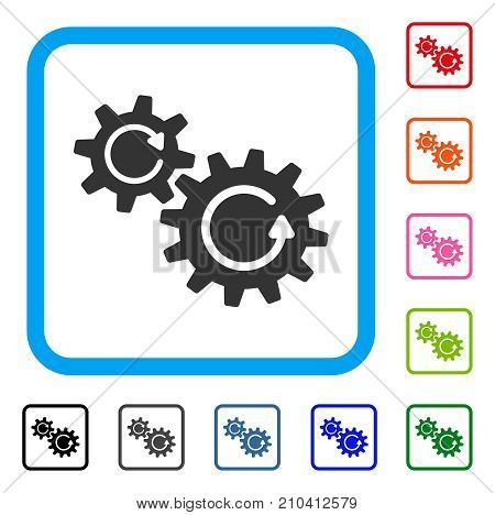 Cogs Rotation icon. Flat gray iconic symbol in a light blue rounded squared frame. Black, gray, green, blue, red, orange color variants of Cogs Rotation vector.