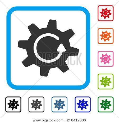 Cogwheel Rotation Direction icon. Flat gray iconic symbol inside a light blue rounded square. Black, gray, green, blue, red, orange color additional versions of Cogwheel Rotation Direction vector.