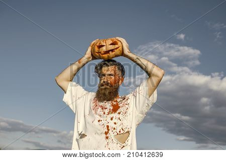 Halloween Hipster With Red Blood And Bloodstains