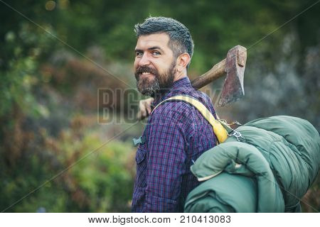 Man Lumberjack Happy Smiling With Axe And Backpack