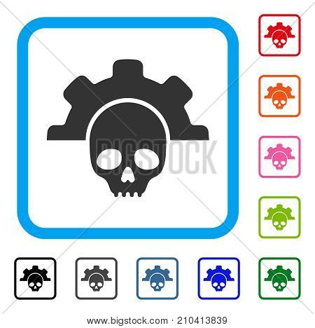 Dead Tools icon. Flat grey iconic symbol inside a light blue rounded rectangular frame. Black, gray, green, blue, red, orange color variants of Dead Tools vector. Designed for web and application UI.