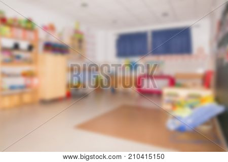 Abstract Blur Background Children Classroom In Kindergarten