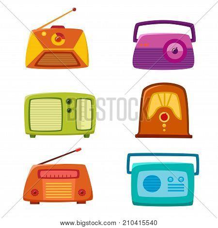 Vintage radio isolated on white background. Vector illustration of retro cartoon radio. Old radio vintage set used for vector icons or design elements.