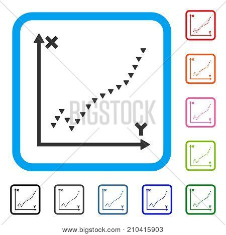 Dotted Function Plot icon. Flat grey iconic symbol in a light blue rounded frame. Black, gray, green, blue, red, orange color variants of Dotted Function Plot vector.