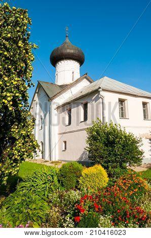 Veliky Novgorod Russia. Church of Simeon the God Receiver in Zverin Pokrovsky Monastery. Architecture landscape of Veliky Novgorod Russia