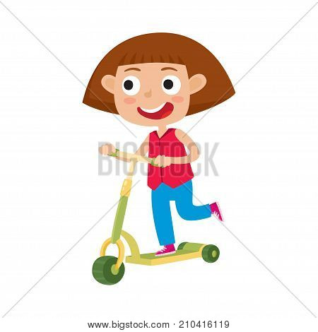 Cute vector concept illustration of little girl having fun outside. Happy small child riding kick scooters outdoors. Summer break, little girl in shirt and jeans having free time playing isolated on white background. Pretty girl player. Happy child.