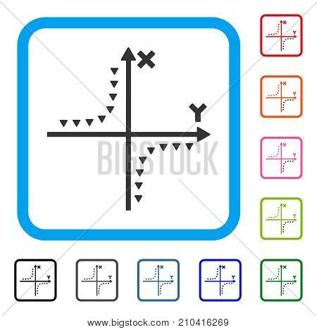 Dotted Hyperbola Plot icon. Flat gray iconic symbol in a light blue rounded rectangle. Black, gray, green, blue, red, orange color additional versions of Dotted Hyperbola Plot vector.