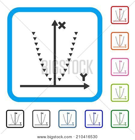 Dotted Parabola Plot icon. Flat grey iconic symbol in a light blue rounded rectangular frame. Black, gray, green, blue, red, orange color additional versions of Dotted Parabola Plot vector.