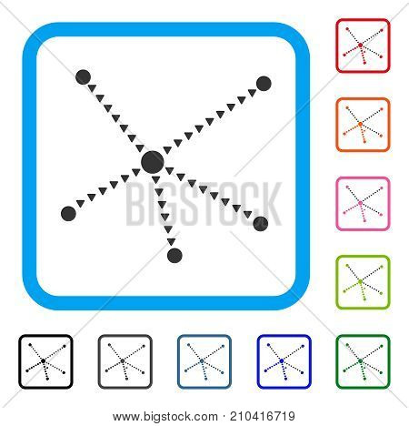 Dotted Relations icon. Flat grey iconic symbol inside a light blue rounded frame. Black, gray, green, blue, red, orange color versions of Dotted Relations vector. Designed for web and app interfaces.